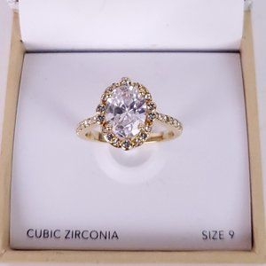 NWT CHARTER CLUB Gold Crystal Pave Ring Sz9